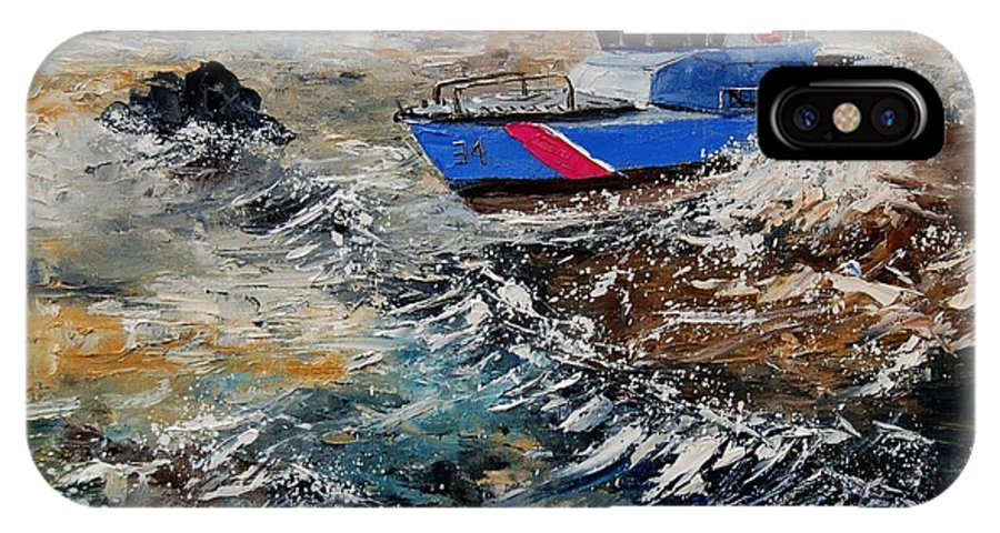 Sea IPhone X Case featuring the painting Coastguards by Pol Ledent