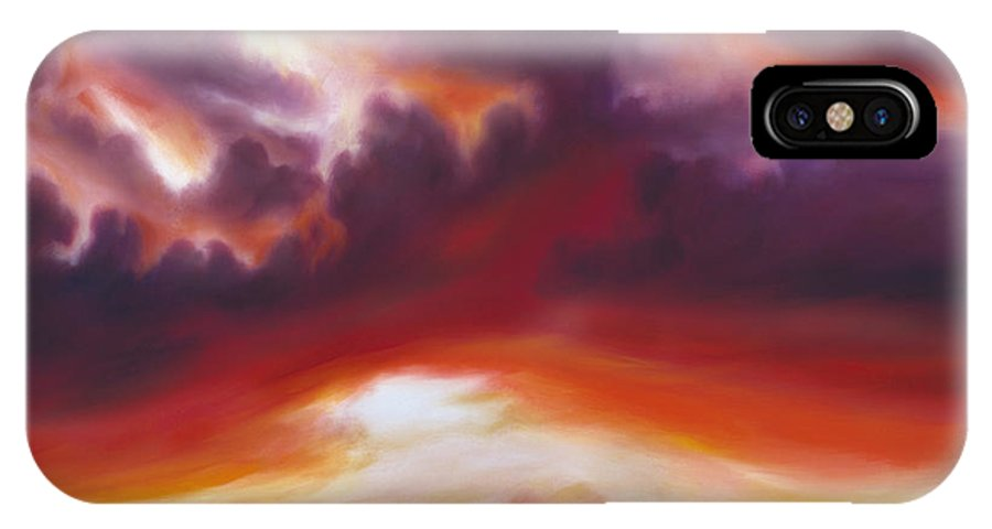 Skyscape IPhone X Case featuring the painting Coastline by James Christopher Hill