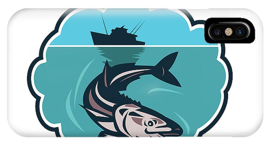 Cobia IPhone X Case featuring the digital art Cobia Fish Fishing Boat Bubble Retro by Aloysius Patrimonio