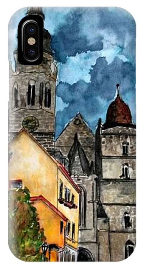 Germany IPhone X Case featuring the painting Coburg Germany Castle Painting Art Print by Derek Mccrea
