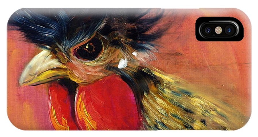 Roosters IPhone X Case featuring the painting Cock Robin by Sally Seago