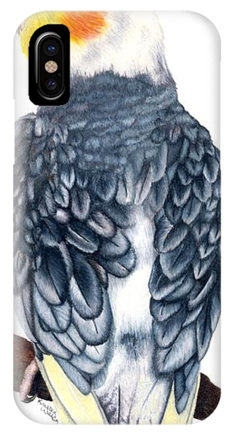 Cockatiel IPhone X / XS Case featuring the drawing Cockatiel 1 by Kristen Wesch