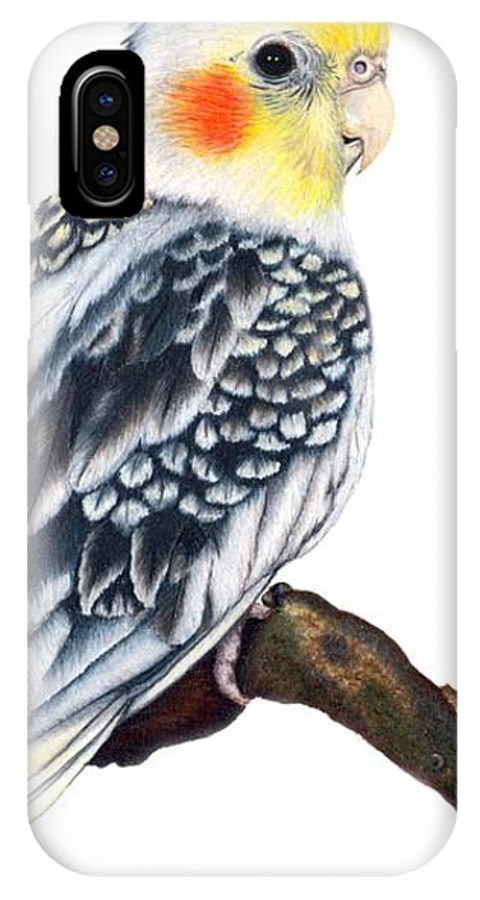 Cockatiel IPhone X Case featuring the drawing Cockatiel 2 by Kristen Wesch