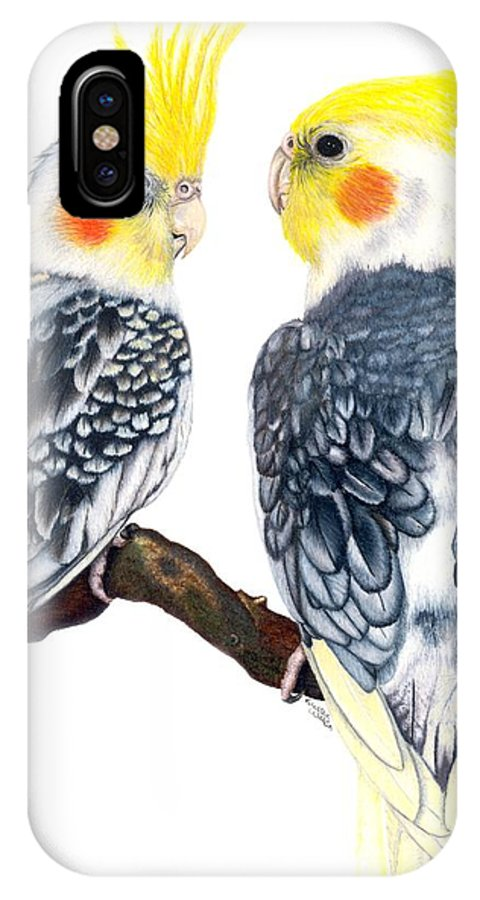Cockatiel IPhone X Case featuring the drawing Cockatiels by Kristen Wesch