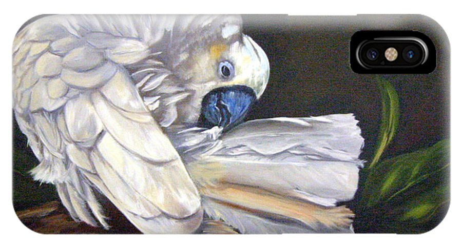 Birds IPhone Case featuring the painting Cockatoo Preening by Anne Kushnick