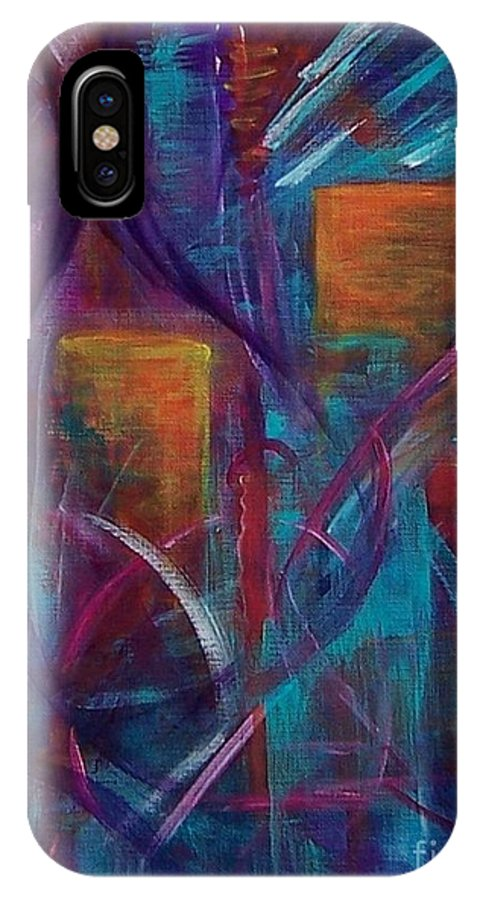 Abstract IPhone X Case featuring the painting Cocktails For Two by Karen Day-Vath