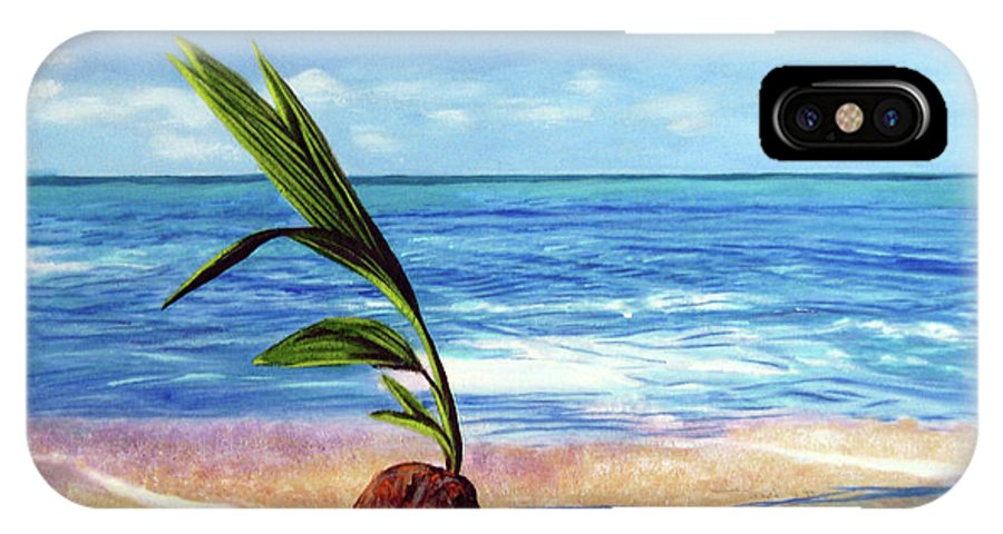 Ocean IPhone X Case featuring the painting Coconut On Beach by Jose Manuel Abraham