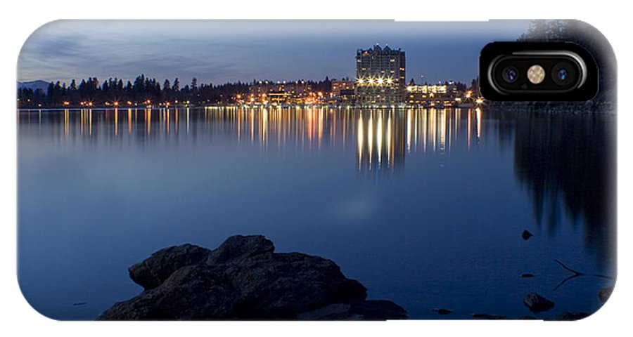 Skyline IPhone Case featuring the photograph Coeur D Alene Skyline Night by Idaho Scenic Images Linda Lantzy