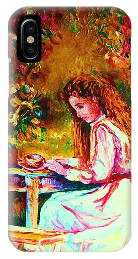 Impressionism IPhone X Case featuring the painting Coffee In The Garden by Carole Spandau