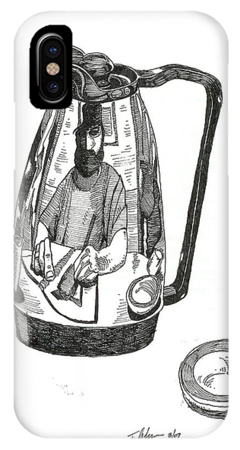 Pen And Ink IPhone X Case featuring the drawing Coffee Pot by Tobey Anderson