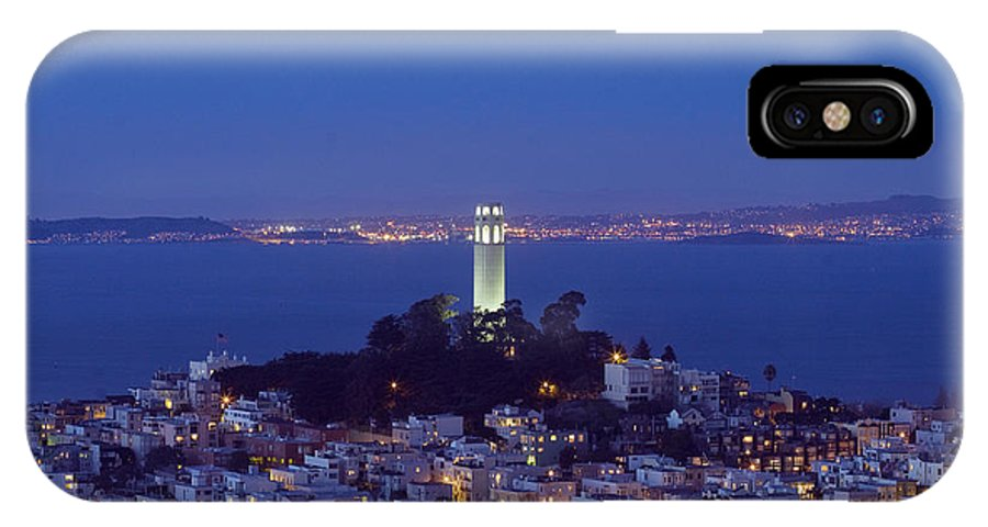 Coit Tower IPhone X Case featuring the photograph Coit Tower At Dusk San Francisco California by Carol M Highsmith