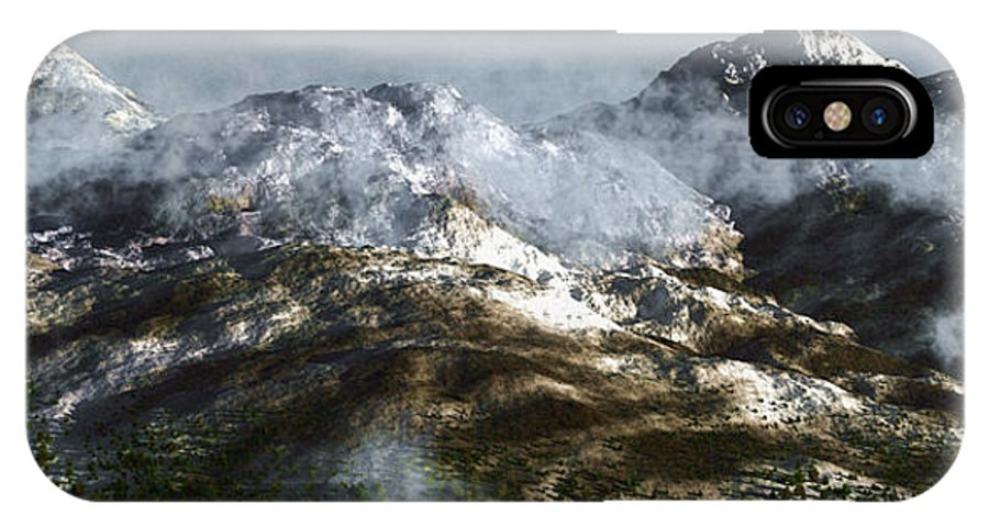 Mountains IPhone X Case featuring the digital art Cold Mountain by Richard Rizzo