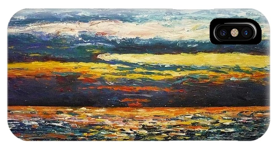 Landscape IPhone X / XS Case featuring the painting Cold Sunset by Ericka Herazo