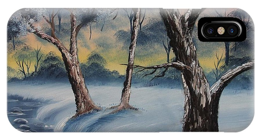 Winter IPhone X Case featuring the painting Cold Winter by Nadine Westerveld