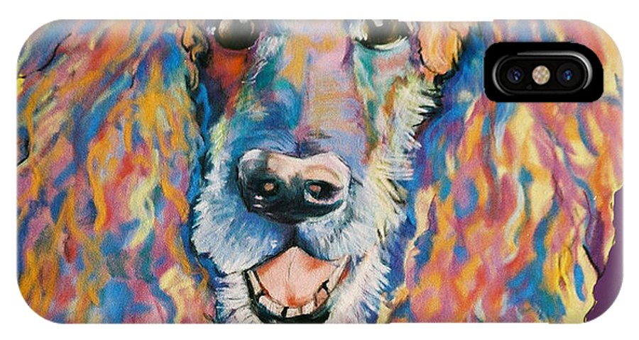 Standard Poodle IPhone X Case featuring the painting Cole by Pat Saunders-White
