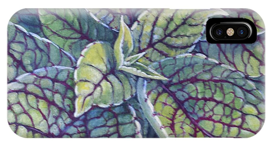 Coleus IPhone X Case featuring the painting Coleus Leaves by Marlene Bonneville