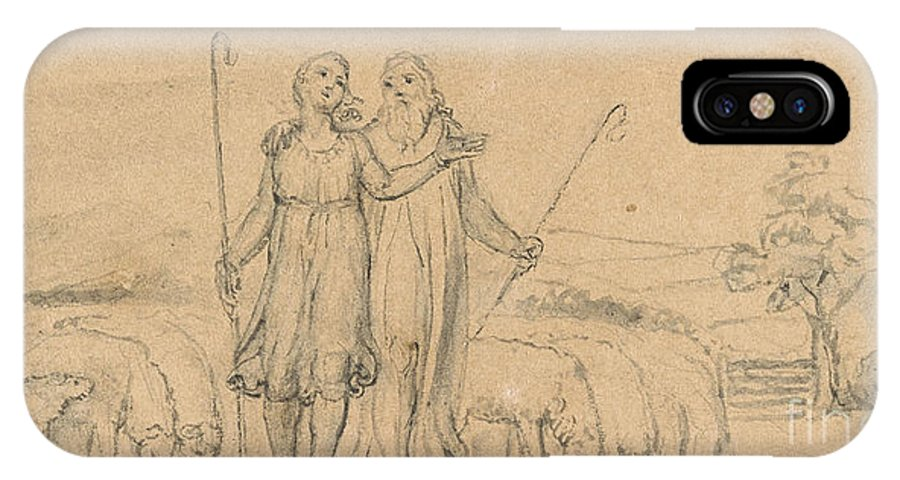 William Blake IPhone X Case featuring the painting Colinet And Thenot by MotionAge Designs