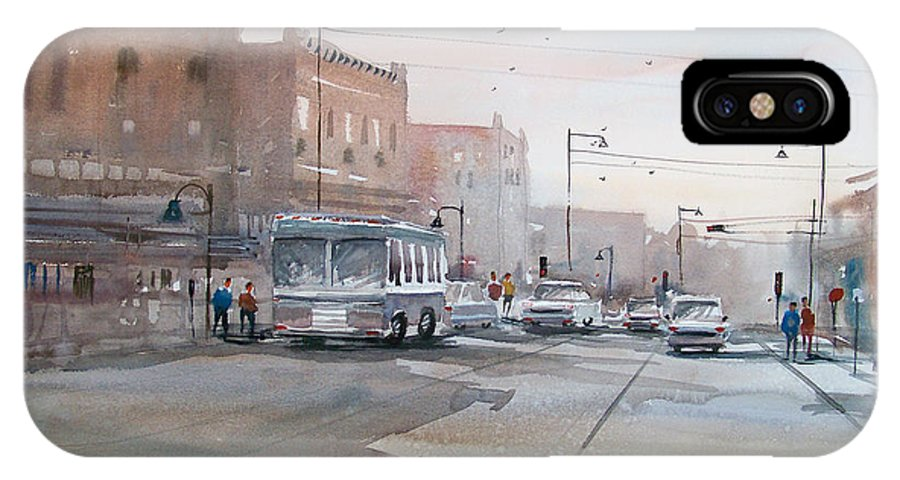 Ryan Radke IPhone X Case featuring the painting College Avenue - Appleton by Ryan Radke