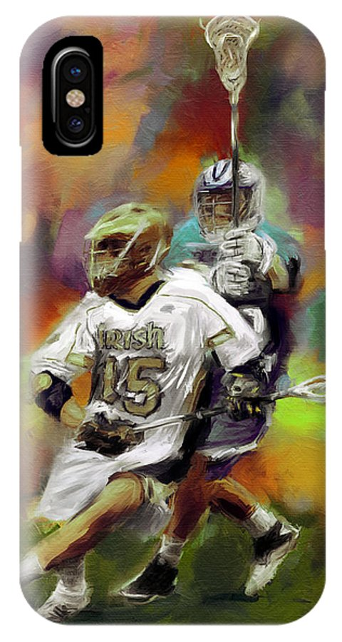Lacrosse IPhone X Case featuring the painting College Lacrosse 13 by Scott Melby