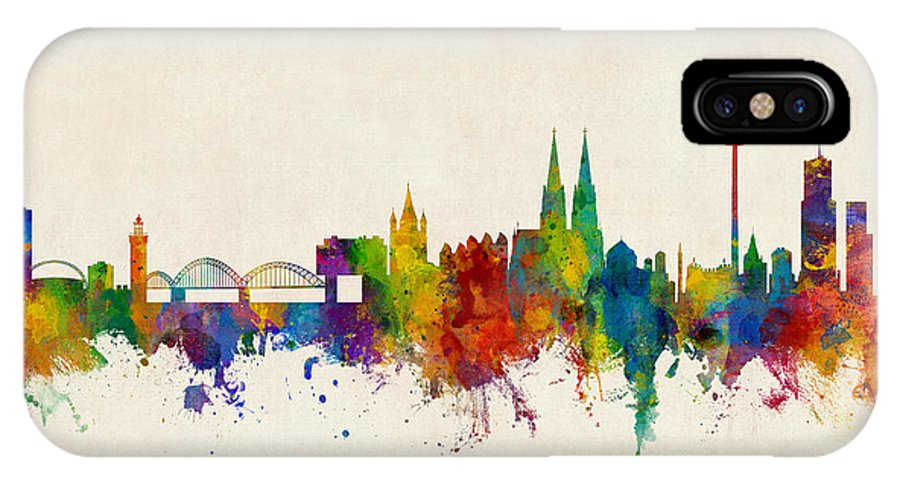 Cologne IPhone X Case featuring the digital art Cologne Germany Skyline by Michael Tompsett