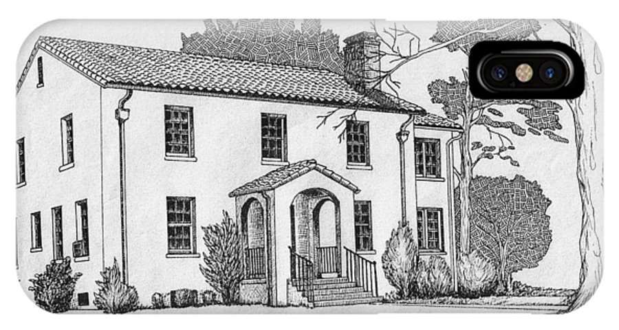 Drawing - Pen And Ink IPhone Case featuring the drawing Colonel Quarters 2 - Fort Benning Ga by Marco Morales