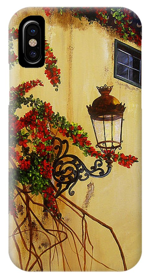 Cuban Painter IPhone X Case featuring the painting Colonial Corner by Dominica Alcantara