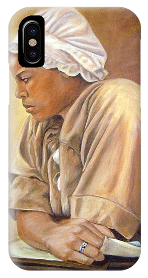 Portrait IPhone Case featuring the painting Colonial Serving Girl by Anne Kushnick