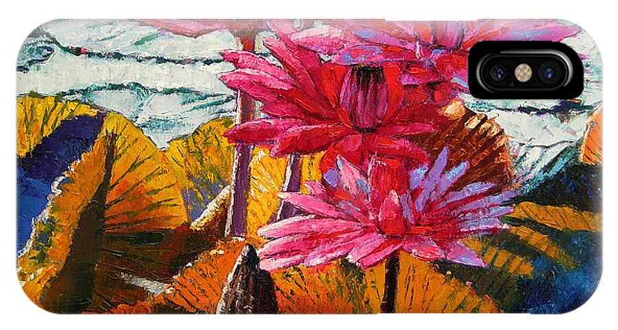 Water Lilies IPhone X Case featuring the painting Color Texture And Light by John Lautermilch