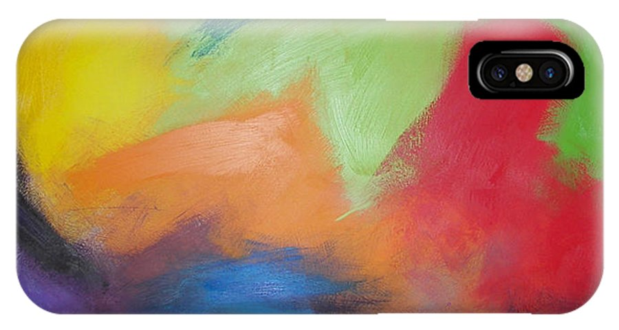 Abstract IPhone Case featuring the painting Color Wars by Bojana Randall