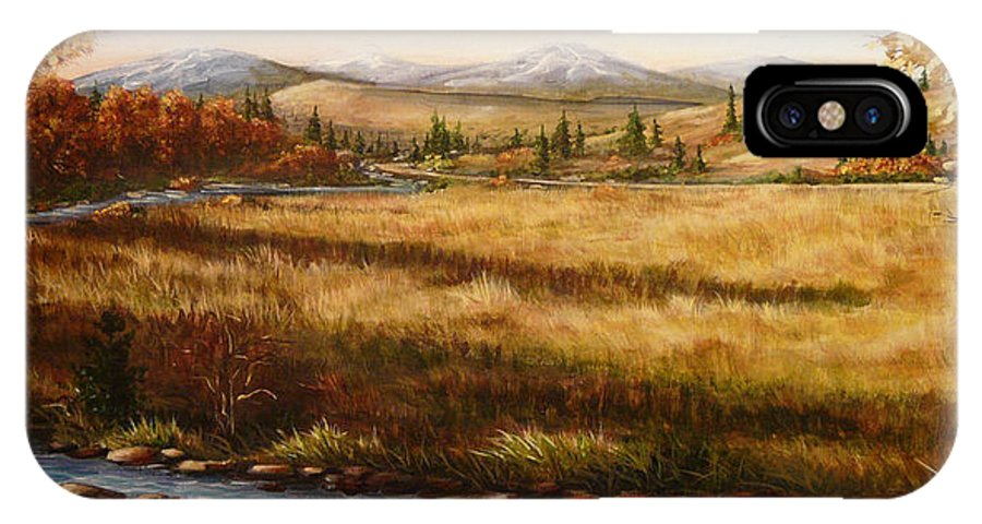 Meadow IPhone X Case featuring the painting Colorado Meadow Morning by Ellen Leigh