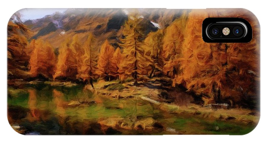 Landscape IPhone X Case featuring the painting Colorado Nature by Sarah Kirk