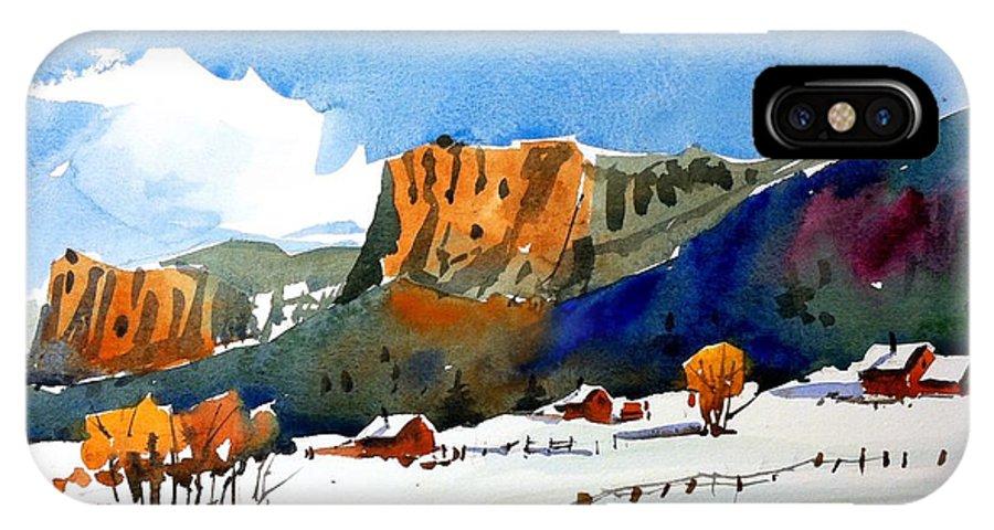 Colorado Winter Rocky Mountains Snow IPhone X Case featuring the painting Colorado Winter 6 by Ugljesa Janjic