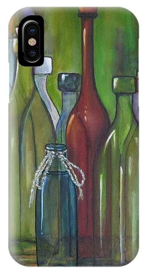 Bottles IPhone X Case featuring the painting Colorful Bottles by Judy Lybrand