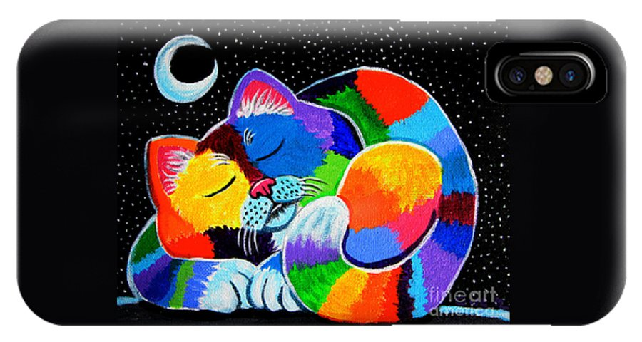 Cat Art IPhone X Case featuring the painting Colorful Cat In The Moonlight by Nick Gustafson