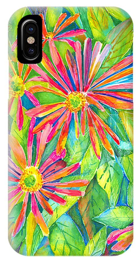 Daisy IPhone X Case featuring the painting Colorful Daisies by Arline Wagner