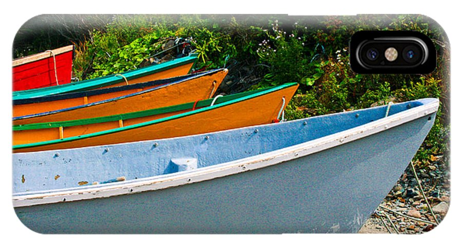 Fishing IPhone X Case featuring the photograph Colorful Fishing Boats On A Rocky Shore Grand Manan by Thomas Marchessault