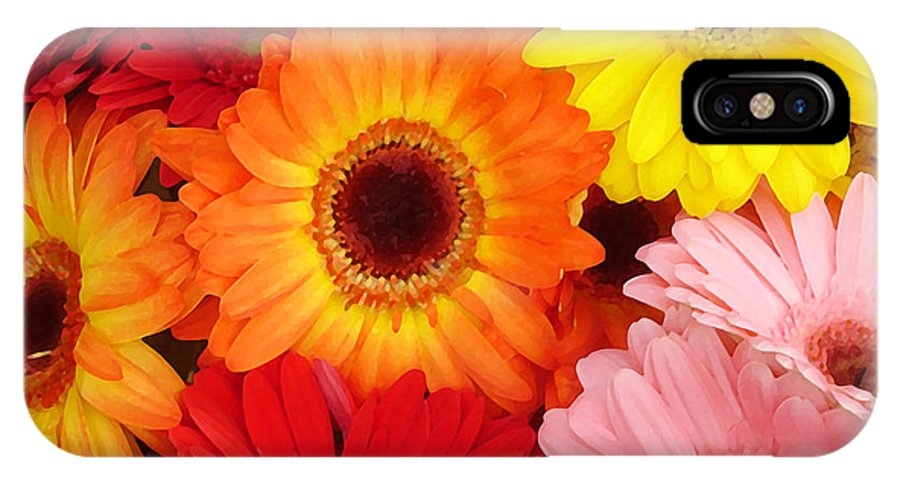 Gerber Daisy IPhone X Case featuring the painting Colorful Gerber Daisies by Amy Vangsgard