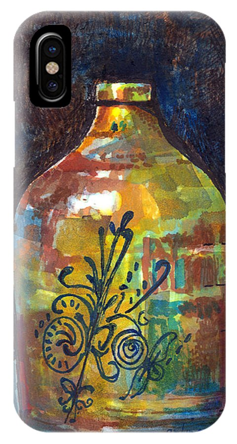 Jug IPhone X Case featuring the painting Colorful Jug by Arline Wagner