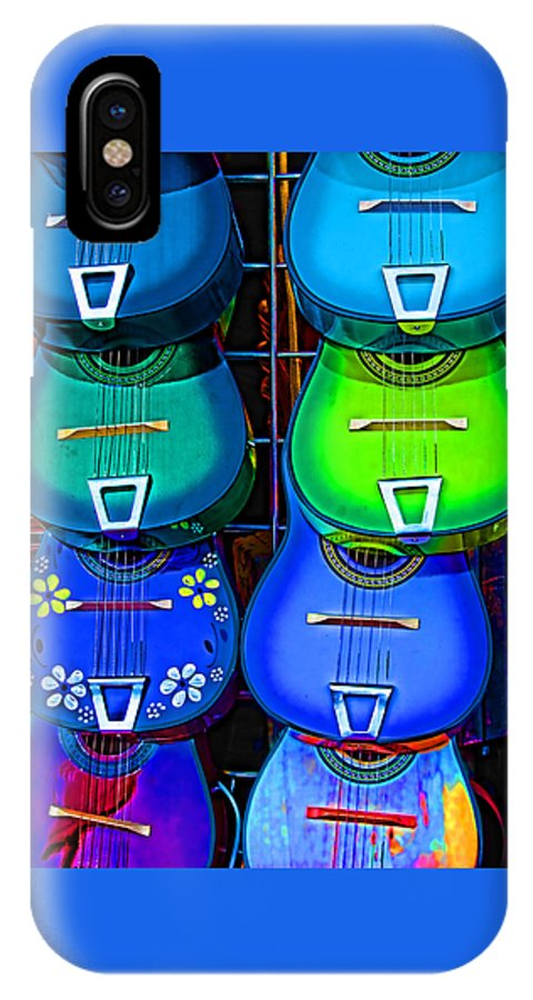 Guitars IPhone X Case featuring the photograph Colorful Mexican Guitars by Helaine Cummins