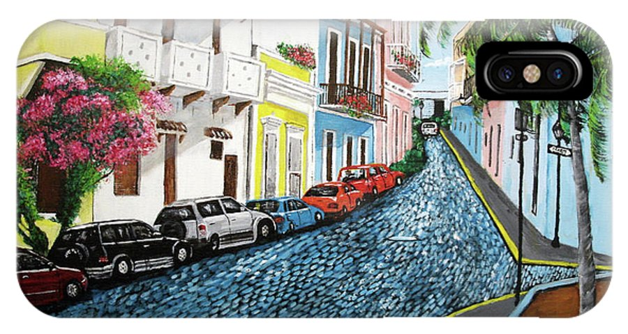 Old San Juan IPhone X / XS Case featuring the painting Colorful Old San Juan by Luis F Rodriguez