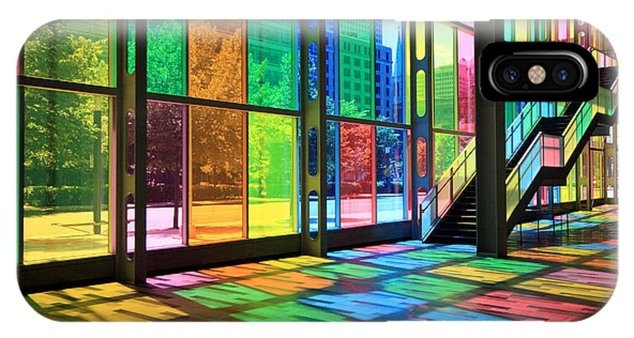 Montreal IPhone X Case featuring the photograph Colorful Palais Des Congres Montreal Canada by Pierre Leclerc Photography