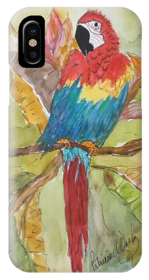 Animal IPhone X Case featuring the painting Colorful Parrot by Patricia Voelz