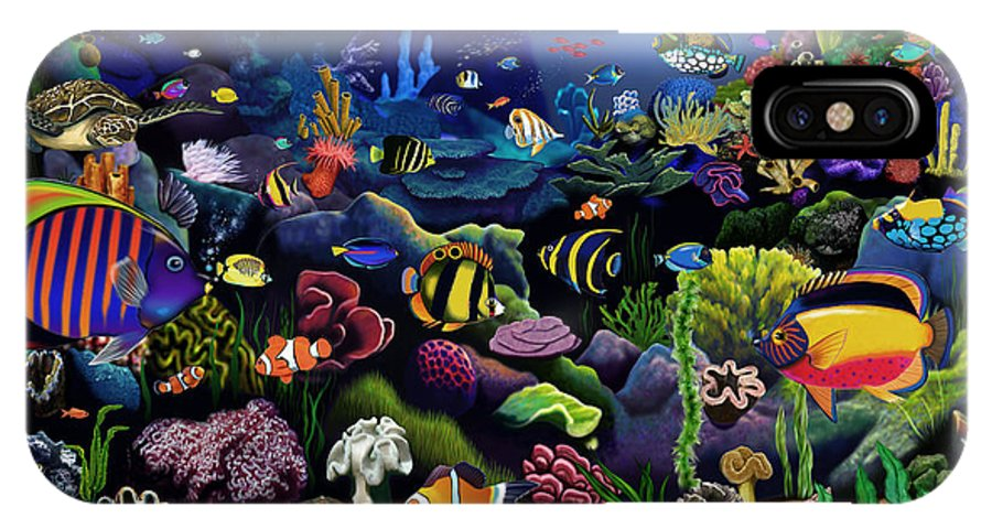 Gerald Newton IPhone X Case featuring the digital art Colorful Reef by MGL Meiklejohn Graphics Licensing
