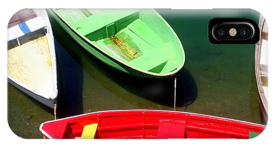 Rockport IPhone X / XS Case featuring the photograph Colorful Rowboats by John Kenealy