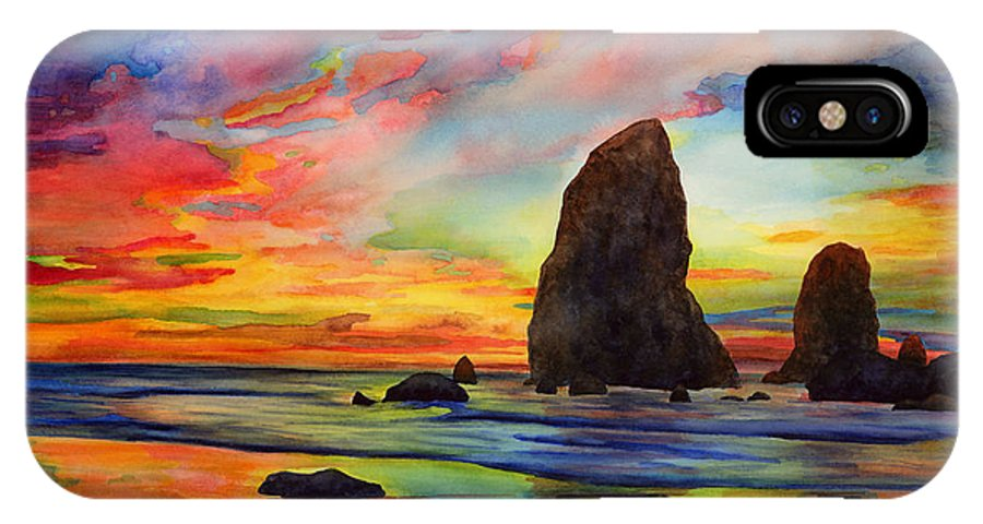 Sunset IPhone X Case featuring the painting Colorful Solitude by Hailey E Herrera