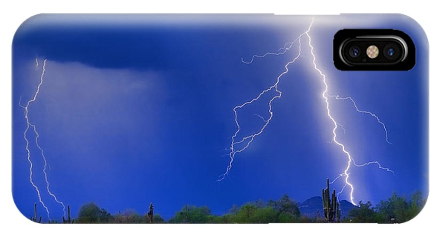 Arizona; Az; Desert; Cactus; Saguaro; Blue; Purple; Lightning; Lightening; Chasers; Lightning Poster; Lightning Photography; Lightning Gallery; Picture Of Lightning; Lightning Storm Pictures; Pictures Of Storm Clouds And Lightning; Lightning Art; IPhone X Case featuring the photograph Colorful Sonoran Desert Storm by James BO Insogna