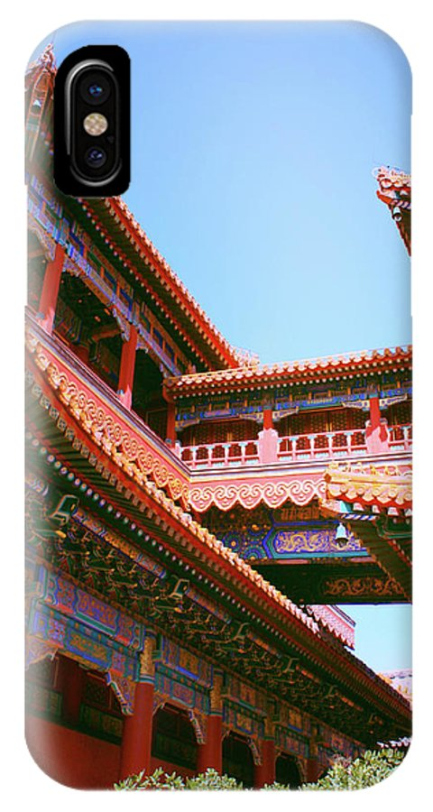 Temple IPhone X Case featuring the photograph Colorful Temple Walkway by Carol Groenen