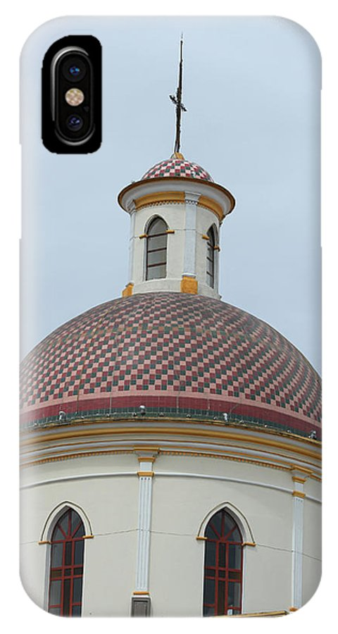 Church IPhone X Case featuring the photograph Colorful Tiles On A Church Dome by Robert Hamm