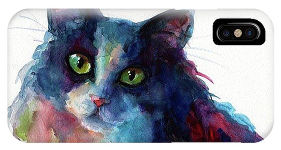 Instacats IPhone X Case featuring the photograph Colorful Watercolor Cat By Svetlana by Svetlana Novikova
