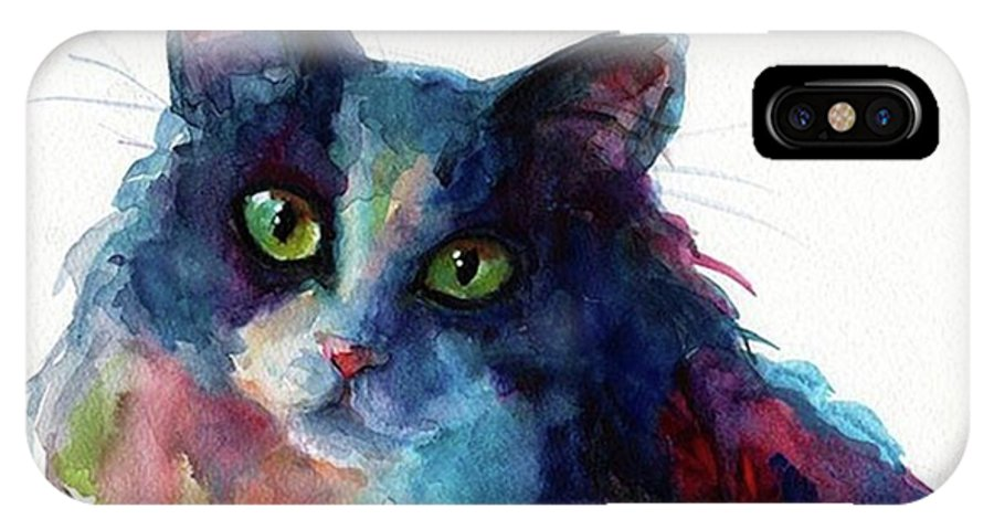 Instacats IPhone X Case featuring the photograph Colorful Watercolor Cat By Svetlana by Svetlana Novikova